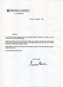 Lettera Luca Zaia Stella